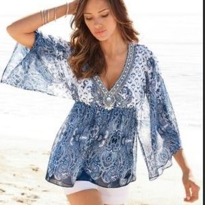 Boston Proper Paisley Print Porcelain Tunic